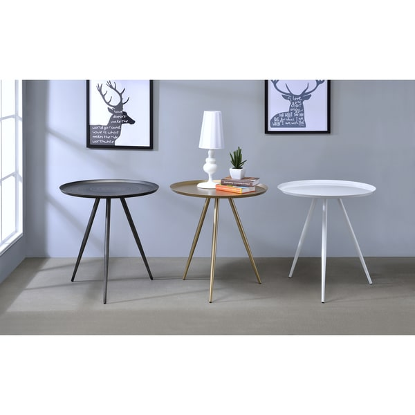 Furniture Of America Rosel Mid Century Modern Tray Top Round Flared Side Table Free Shipping