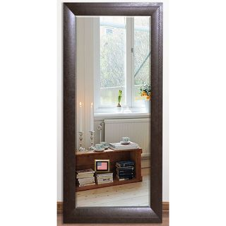 US Made Espresso Leather Beveled Full Body Mirror