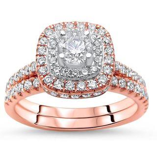 Noori 14k Rose Gold 1 1/5ct Round Diamond Bridal Set (G-H, SI1-SI2)