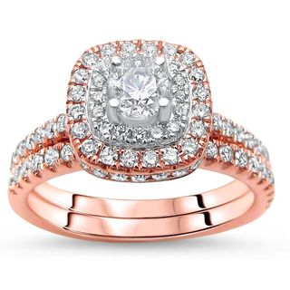 Noori 14k Rose Gold 1ct TDW Round Diamond Bridal Set - White