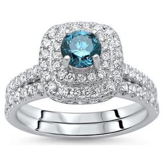 Noori 14k White Gold 1 1/10ct Round Diamond Bridal Set (G-H, SI1-SI2)