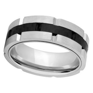 Men's Two-tone Titanium and Carbon Fiber Band - Black