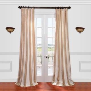 Exclusive Fabrics Light Brown/ Tan Striped Faux Silk Taffeta Curtain Panel 84-inch(As Is Item)