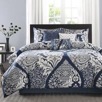 Madison Park Marcella Indigo Cotton Printed 7-Piece Cal-King Size Comforter Set (As Is Item)