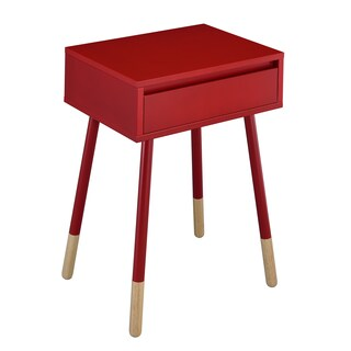 Furniture of America Faret Mid-Century Modern Two-Tone 1-drawer Side Table (Option: Red)