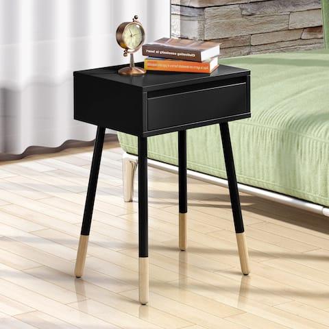 Faret Mid-Century Modern 2-tone 1-drawer Side Table by FOA