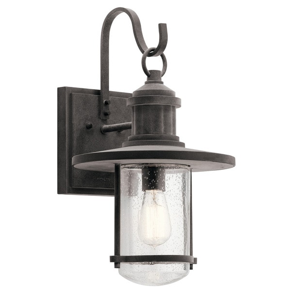 Kichler lighting riverwood collection 1 light weathered zinc outdoor wall lantern