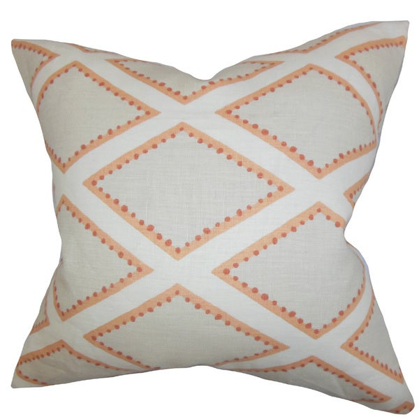Alaric Geometric 22-inch Down Feather Throw Pillow Gray Coral