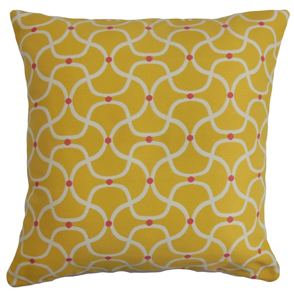Radha Geometric 22-inch Down Feather Throw Pillow Yellow