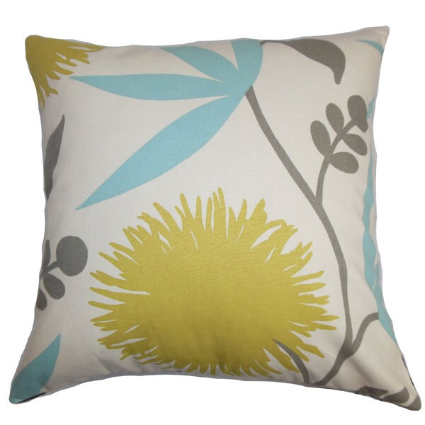 """Huberta Floral 22"""" x 22"""" Down Feather Throw Pillow Yellow Blue"""