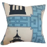 Kashi Geometric 22-inch Down Feather Throw Pillow Aqua