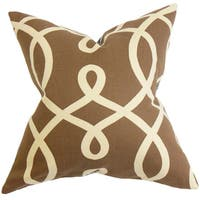 Chloris Geometric 22-inch Down Feather Throw Pillow Brown