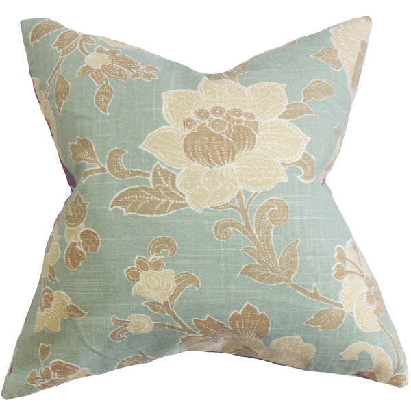 "Duscha Floral 22"" x 22"" Down Feather Throw Pillow Blue Brown"