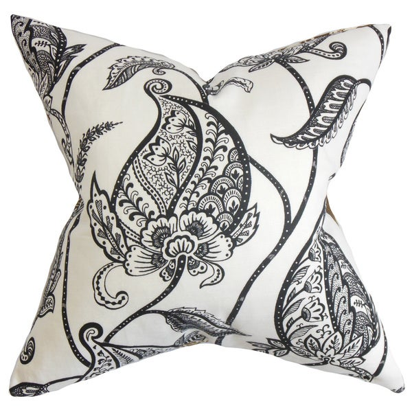 Fenella Floral 22-inch Down Feather Throw Pillow Black White