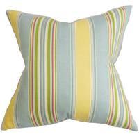 Hollis Stripes 22-inch Down Feather Throw Pillow Blue Yellow