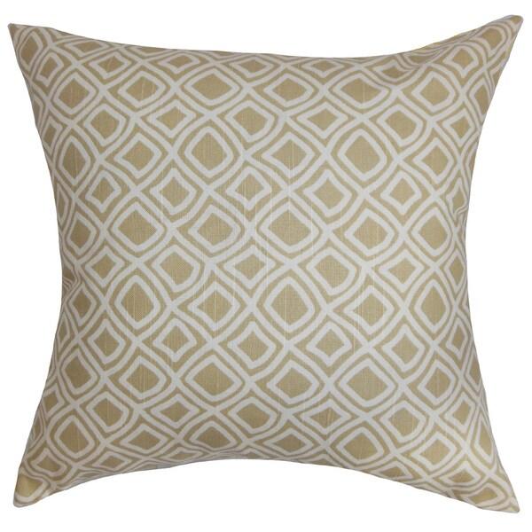 """Cacia Geometric 22"""" x 22"""" Down Feather Throw Pillow Neutral"""