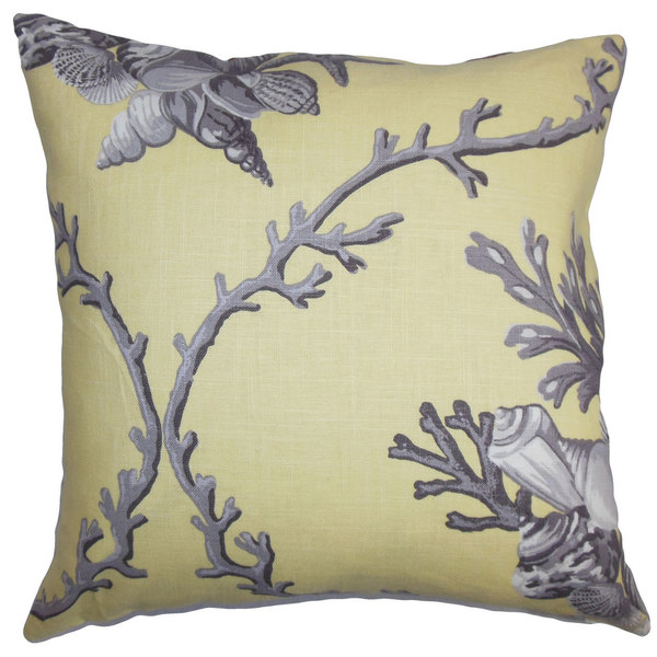 "Maj Coastal 22"" x 22"" Down Feather Throw Pillow Yellow Gray"