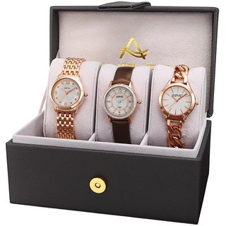 August Steiner Women's Diamond Swarovski Crystal Chain Link & Leather Rose-Tone Watch Set