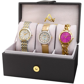 August Steiner Women's Diamond Swarovski Crystal Chain Link & Leather Two-Tone Watch Set