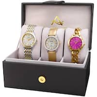 August Steiner Women's Diamond Swarovski Crystal Chain Link & Leather Two-Tone Watch Set