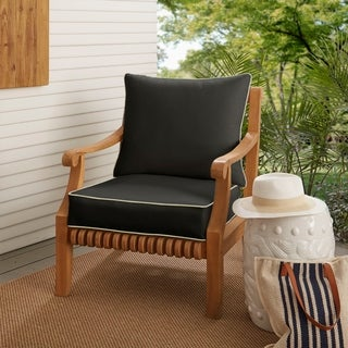 Sawyer Sunbrella Canvas Black with Canvas Cording Indoor/ Outdoor Cushion and Pillow Set