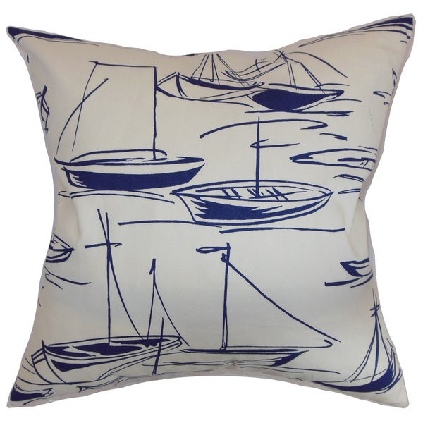 Gamboola Nautical 22-inch Down Feather Throw Pillow Navy