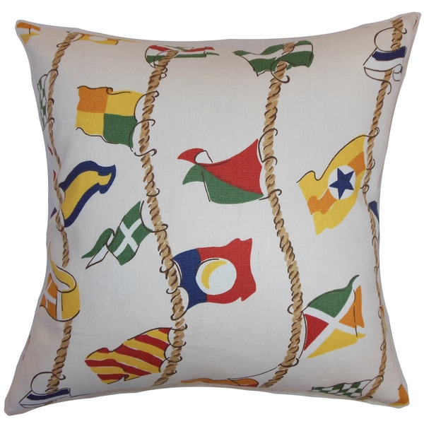 Inagua Flags 22-inch Down Feather Throw Pillow Multi