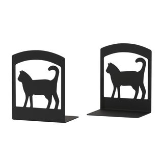 BE-6-VWR Black Wrought Iron Cat Bookends