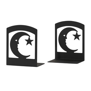 Star and Moon Black Wrought Iron Bookends