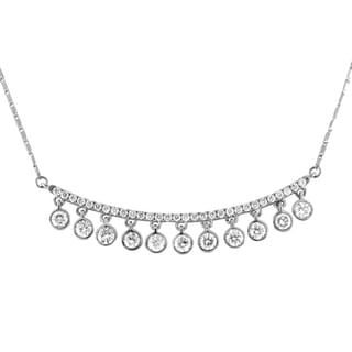 Beverly Hills Charm 14K White Gold 1ct TDW Diamonds Curved Bar Necklace (H-I, SI2-I1)