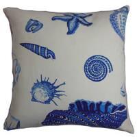 "Rayen Coastal 22"" x 22"" Down Feather Throw Pillow Natural Blue"