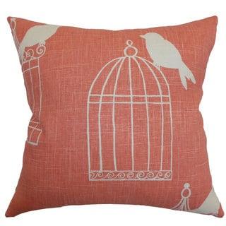 "Alconbury Birds 22"" x 22"" Down Feather Throw Pillow Melon"