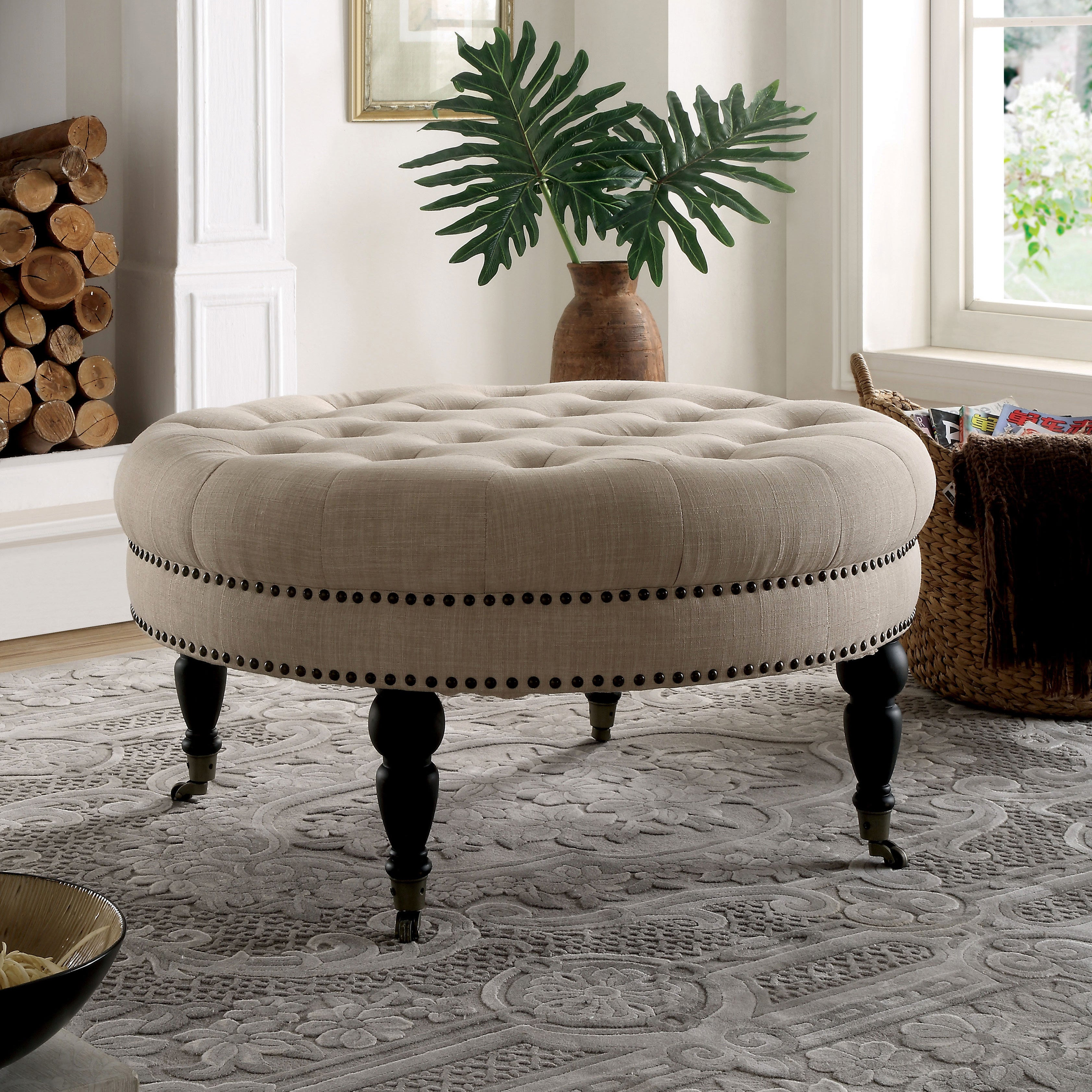 Details about furniture of america basel tufted ivory linen round 35 inch accent ottoman
