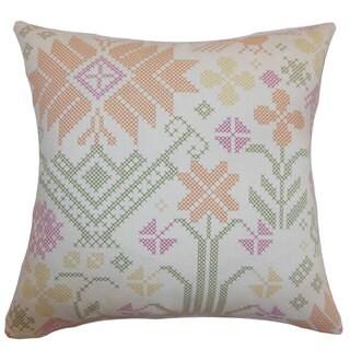 Dori Cross Stitch 22-inch Down Feather Throw Pillow Summer