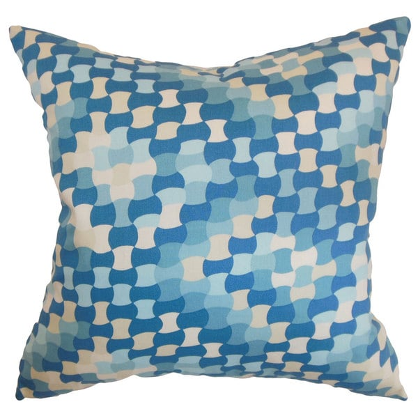 Gaya Geometric 22-inch Down Feather Throw Pillow Aquamarine