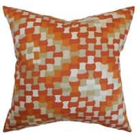 Gaya Geometric 22-inch Down Feather Throw Pillow Tangerine