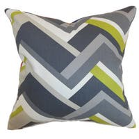 "Hoonah Geometric 22"" x 22"" Down Feather Throw Pillow Grey"
