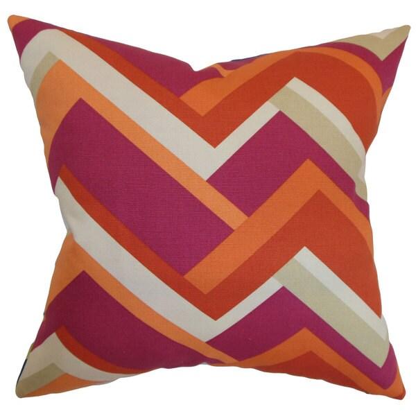 Hoonah Geometric 22-inch Down Feather Throw Pillow Mango