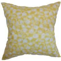"""Imperatriz Geometric 22"""" x 22"""" Down Feather Throw Pillow Banana"""