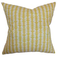"Jiri Geometric 22"" x 22"" Down Feather Throw Pillow Banana"