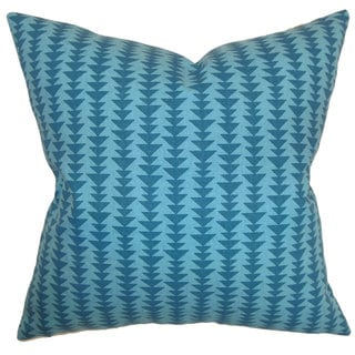 Jiri Geometric 22-inch Down Feather Throw Pillow Peacock