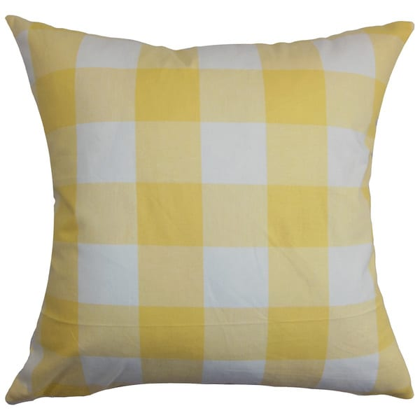 """Vedette Plaid 22"""" x 22"""" Down Feather Throw Pillow Yellow"""