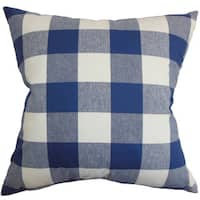"Vedette Plaid 22"" x 22"" Down Feather Throw Pillow Blue"