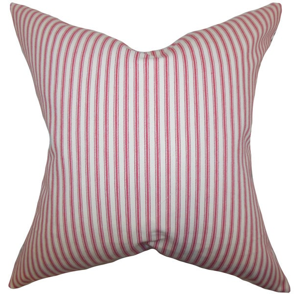 Ferebee Stripes 22-inch Down Feather Throw Pillow Red