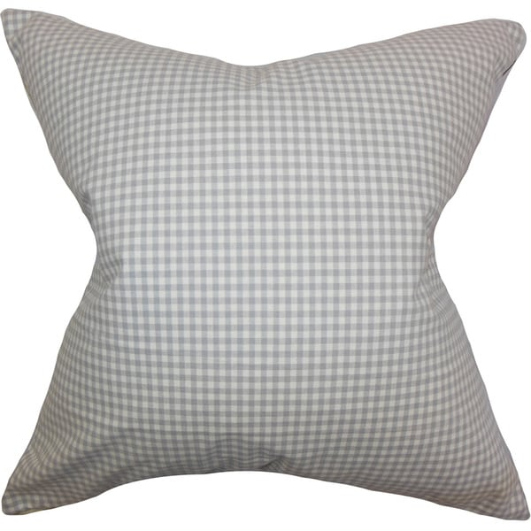 Xandy Plaid 22-inch Down Feather Throw Pillow Grey