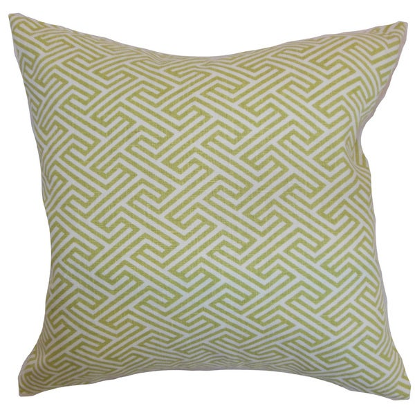 Qalanah Geometric 22-inch Down Feather Throw Pillow Leaf