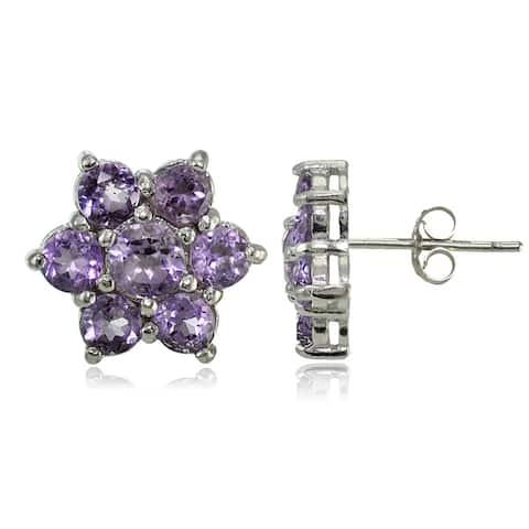 Glitzy Rocks Sterling Silver Gemstone Flower Stud Earrings