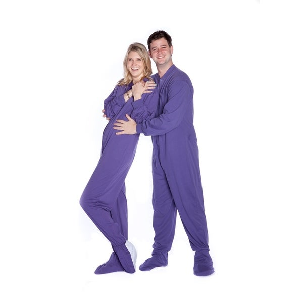 Big Feet Pjs Purple Jersey Knit Adult Footed Pajamas with Sleeper Rear Flap