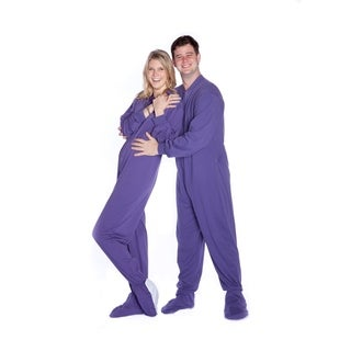 Big Feet Pajamas Unisex Purple Cotton Jersey Knit Drop-seat Footed Onesie Pajamas