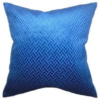 Delora Solid 22-inch Down Feather Throw Pillow Blue Velvet